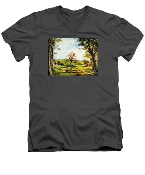 Men's V-Neck T-Shirt featuring the painting Autumn Road by Lee Piper