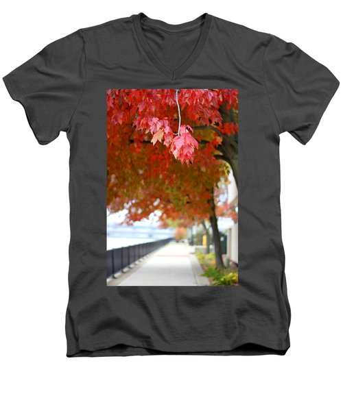 Autumn Sidewalk Men's V-Neck T-Shirt