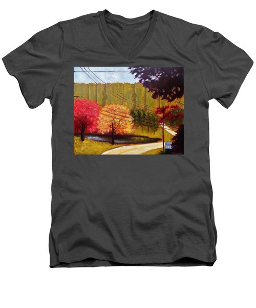 Men's V-Neck T-Shirt featuring the painting Autumn Slopes by Jason Williamson