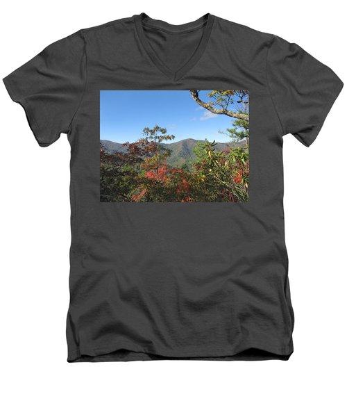 Autumn Smoky Mountains Men's V-Neck T-Shirt by Melinda Fawver