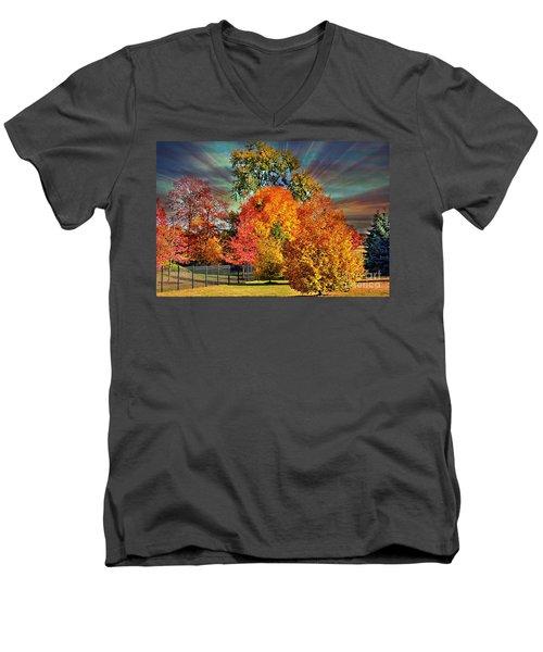 Autumn Splendor Men's V-Neck T-Shirt by Judy Palkimas