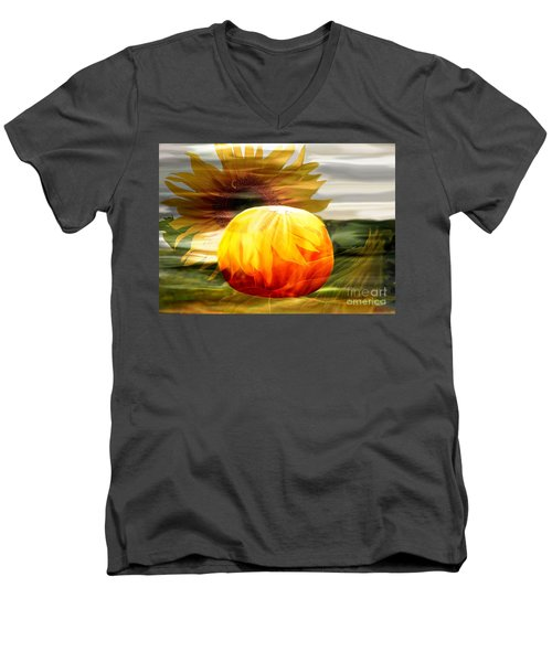 Men's V-Neck T-Shirt featuring the photograph Autumn Sunflower And Pumpkin by Annie Zeno