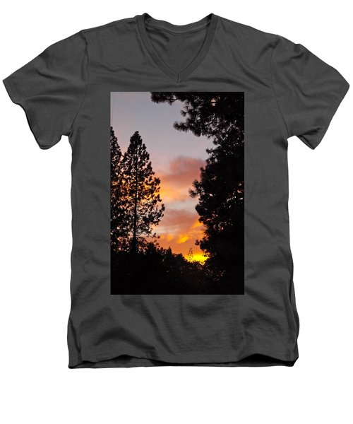 Autumn Sunset Men's V-Neck T-Shirt by Michele Myers