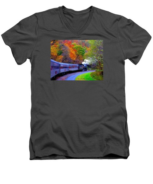 Men's V-Neck T-Shirt featuring the painting Autumn Train by Bruce Nutting