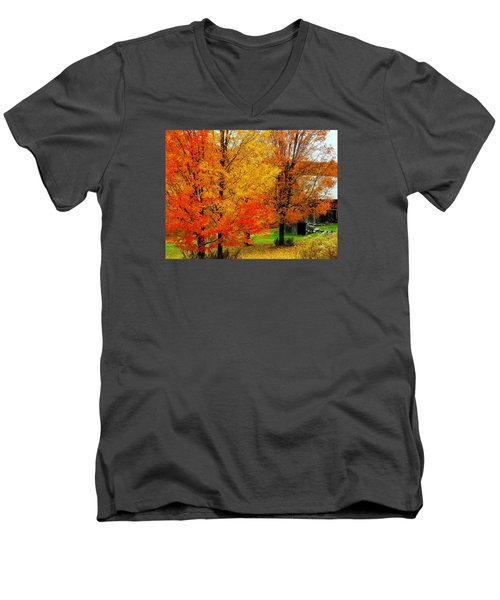 Men's V-Neck T-Shirt featuring the photograph Autumn Trees By Barn by Rodney Lee Williams