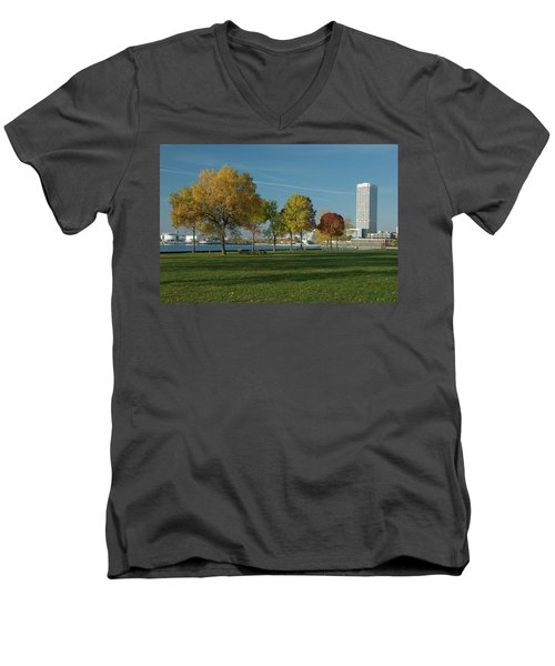 Men's V-Neck T-Shirt featuring the photograph Autumn Trees by Jonah  Anderson
