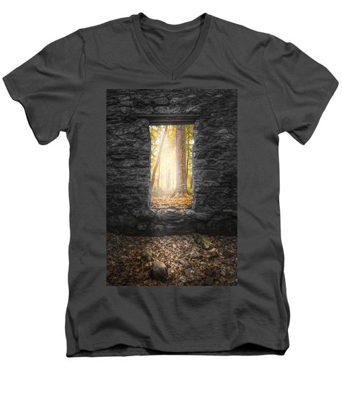 Men's V-Neck T-Shirt featuring the photograph Autumn Within Long Pond Ironworks - Historical Ruins by Gary Heller