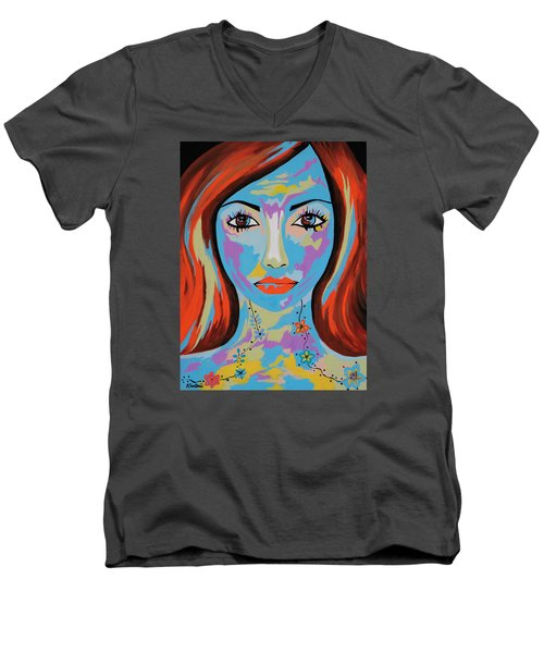 Men's V-Neck T-Shirt featuring the painting Avani by Kathleen Sartoris