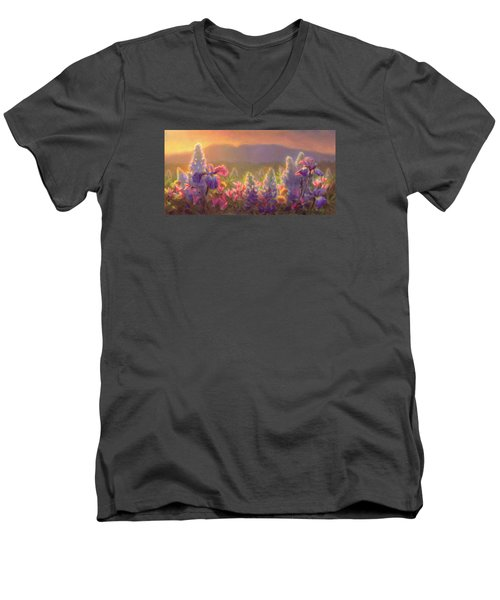 Awakening - Mt Susitna Spring - Sleeping Lady Men's V-Neck T-Shirt by Karen Whitworth