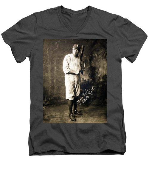 Babe Ruth 1920 Men's V-Neck T-Shirt by Mountain Dreams