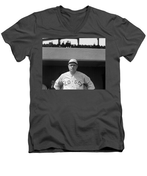 Babe Ruth In Red Sox Uniform Men's V-Neck T-Shirt by Underwood Archives