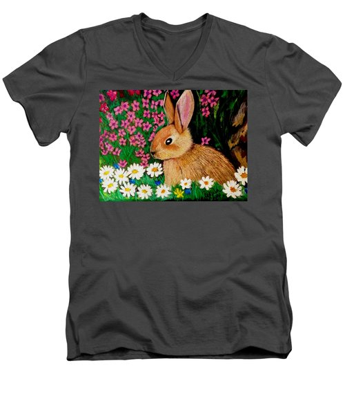 Baby Bunny In The Garden At Night Men's V-Neck T-Shirt