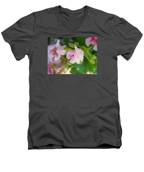 Men's V-Neck T-Shirt featuring the photograph Baby Geranium by Ramona Matei