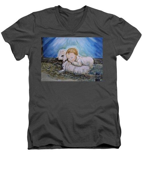 Baby Jesus Little Lamb Men's V-Neck T-Shirt by Nava Thompson