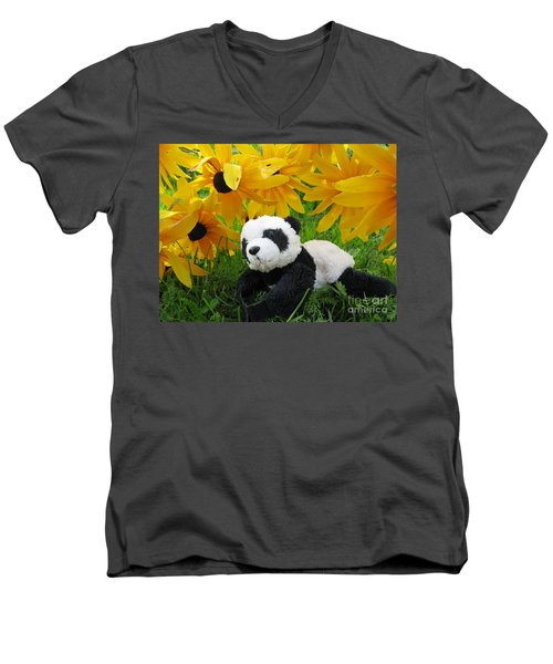 Men's V-Neck T-Shirt featuring the photograph Baby Panda Under The Golden Sky by Ausra Huntington nee Paulauskaite