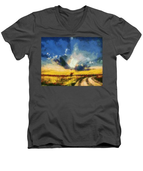 Men's V-Neck T-Shirt featuring the painting Back To Goodbye by Joe Misrasi