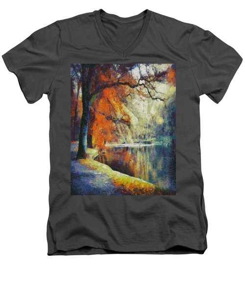 Men's V-Neck T-Shirt featuring the painting Back To Our Dreams by Joe Misrasi