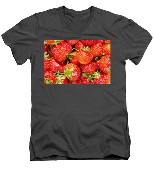 Men's V-Neck T-Shirt featuring the photograph Background Of Strawberries by Kennerth and Birgitta Kullman