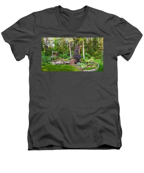 Backyard Garden In Loon Lake, Spokane Men's V-Neck T-Shirt by Panoramic Images