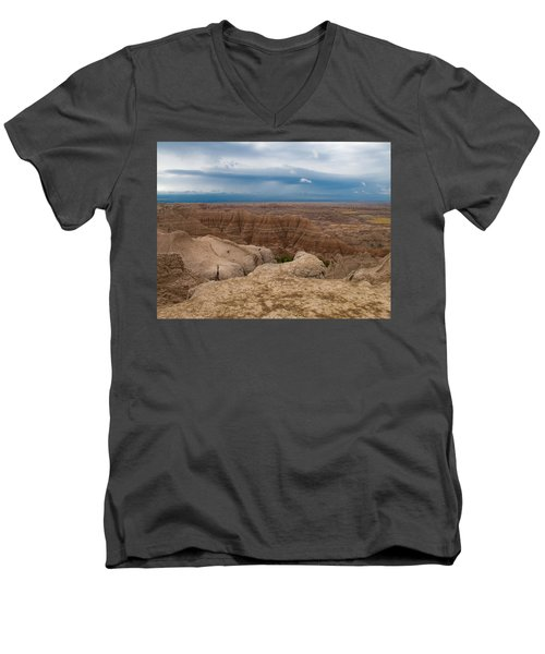 Badlands South Dakota Men's V-Neck T-Shirt by Don Spenner