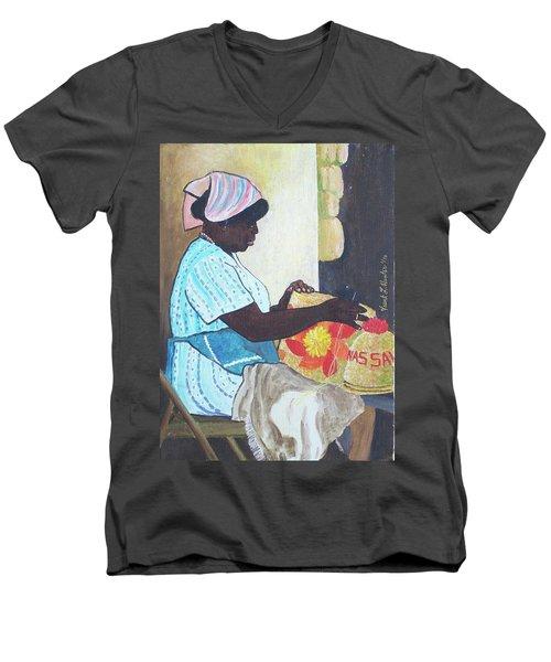Bahamian Woman Weaving Men's V-Neck T-Shirt