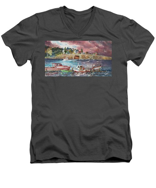 Bailey Island Cribstone Bridge Men's V-Neck T-Shirt by Joy Nichols