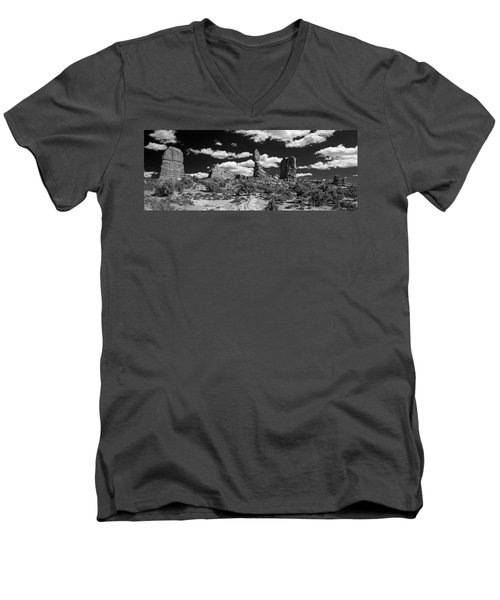 Men's V-Neck T-Shirt featuring the photograph Balanced Rock by Larry Carr