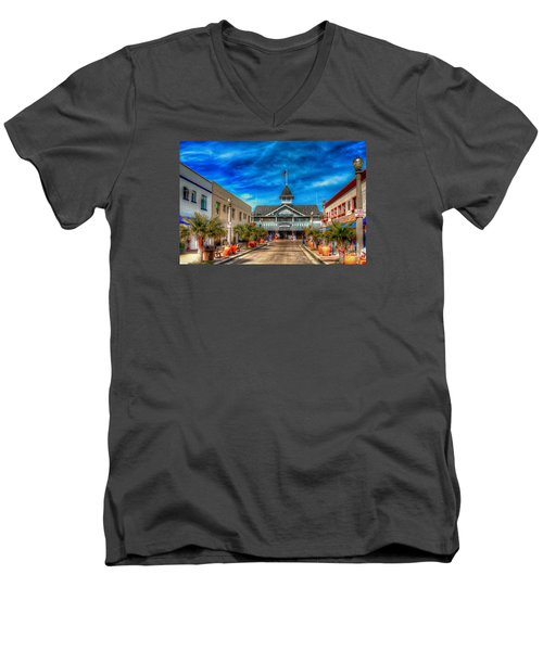 Balboa Pavilion Men's V-Neck T-Shirt by Jim Carrell
