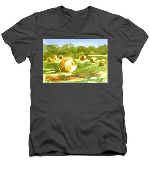 Bales In The Morning Sun Men's V-Neck T-Shirt