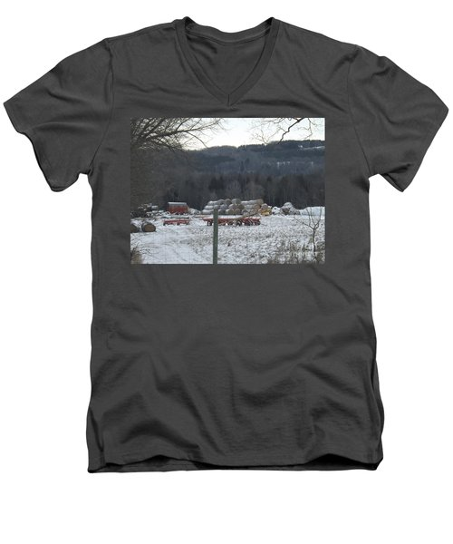 Men's V-Neck T-Shirt featuring the photograph Bales Of Hay by Brenda Brown