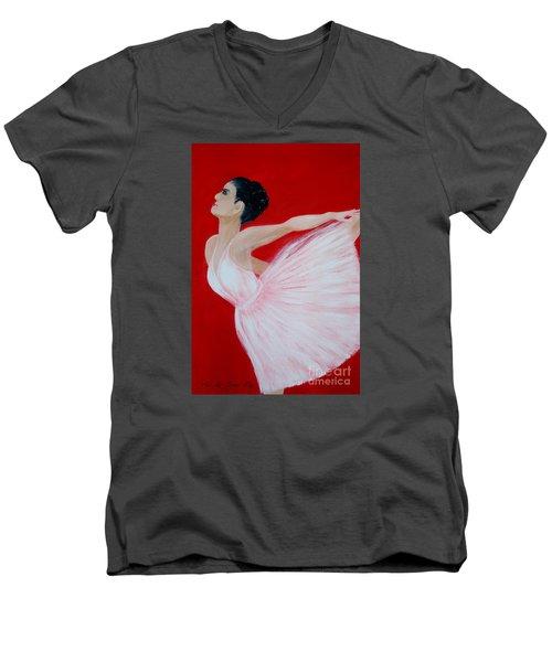 Ballerina.  Grace. Inspirations Collection Men's V-Neck T-Shirt by Oksana Semenchenko