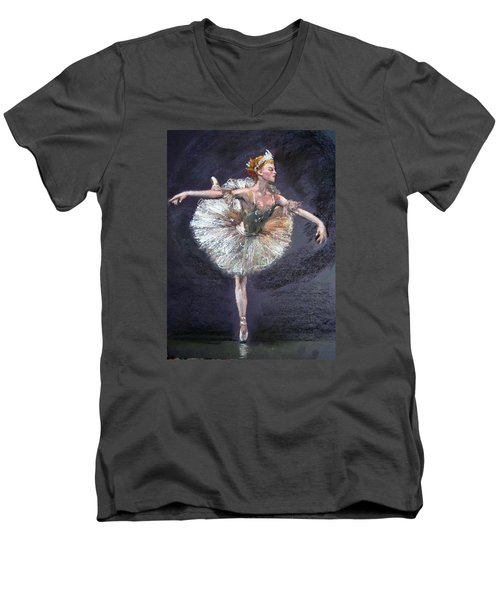 Men's V-Neck T-Shirt featuring the painting Ballet by Jieming Wang