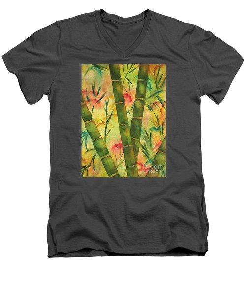 Men's V-Neck T-Shirt featuring the painting Bamboo Garden by Chrisann Ellis