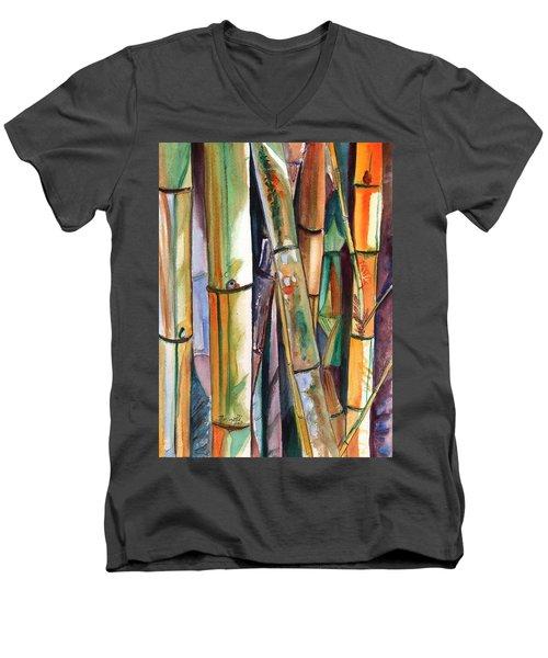 Bamboo Garden Men's V-Neck T-Shirt by Marionette Taboniar