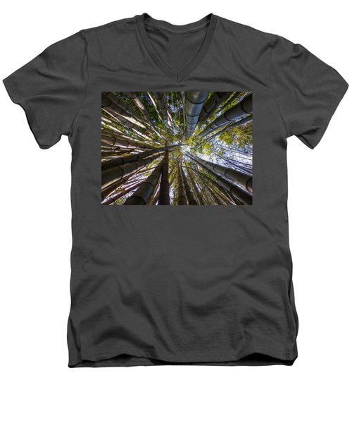 Men's V-Neck T-Shirt featuring the digital art Bamboo Jungle by Gandz Photography
