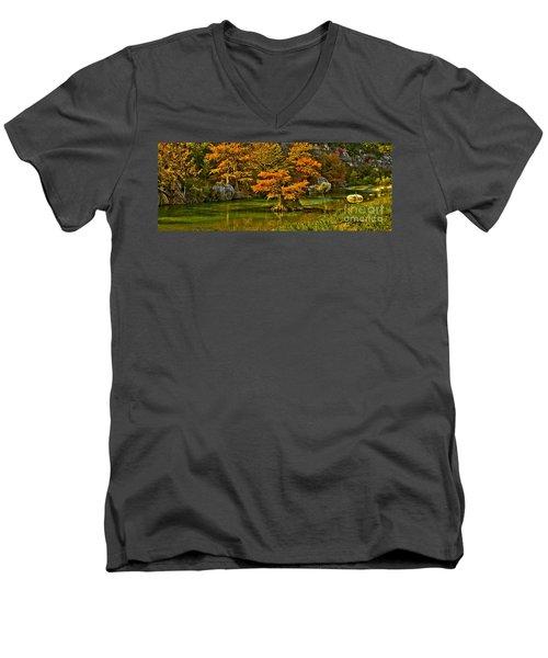 Bandera Falls On Medina River Men's V-Neck T-Shirt