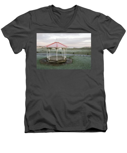 Bandstand In Winter Men's V-Neck T-Shirt by Jeremy Voisey
