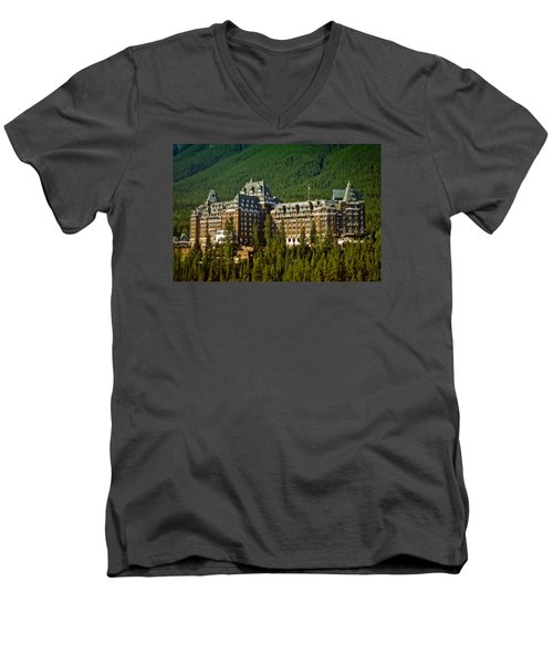 Men's V-Neck T-Shirt featuring the photograph Banff Springs Hotel by Richard Farrington