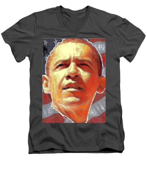 Barack Obama Portrait - American President 2008-2016 Men's V-Neck T-Shirt