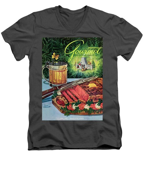 Barbeque Meat And A Mug Of Beer Men's V-Neck T-Shirt