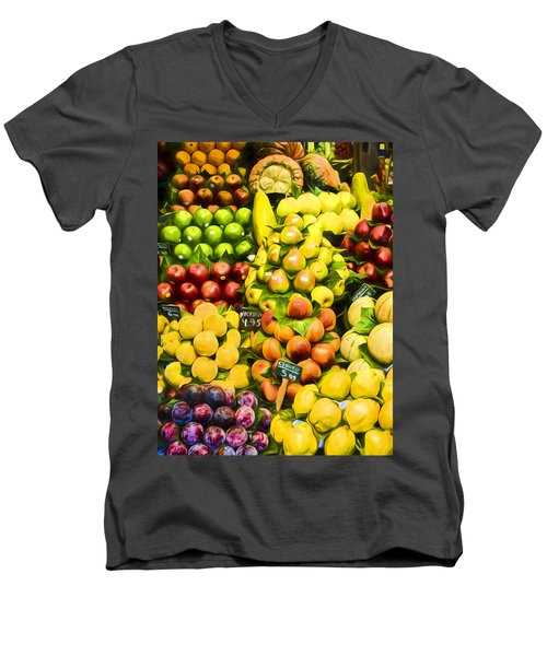 Men's V-Neck T-Shirt featuring the photograph Barcelona Market Fruit by Steven Sparks
