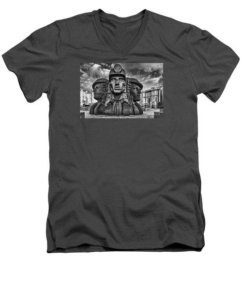 Bargoed Miners 2 Mono Men's V-Neck T-Shirt
