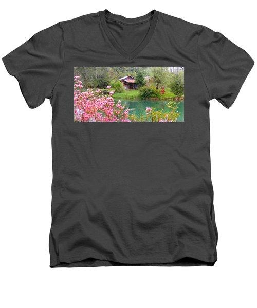 Barn And Flowers Near Pond Men's V-Neck T-Shirt