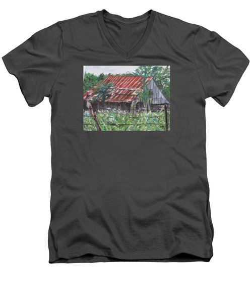 Barn In Montana Men's V-Neck T-Shirt