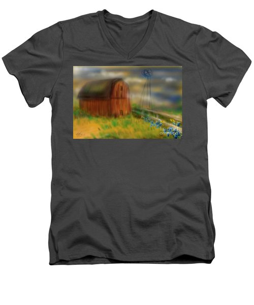 Men's V-Neck T-Shirt featuring the painting Barn by Marisela Mungia