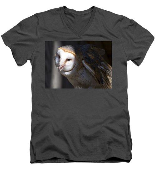 Barn Owl 1 Men's V-Neck T-Shirt by Chris Flees