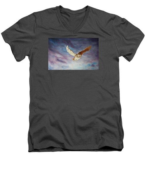 Barn Owl Men's V-Neck T-Shirt by Jean Walker