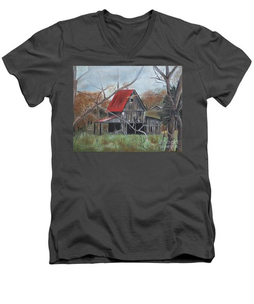 Men's V-Neck T-Shirt featuring the painting Barn - Red Roof - Autumn by Jan Dappen