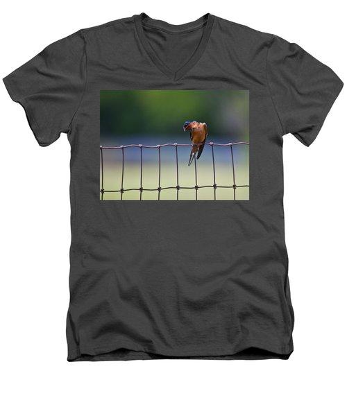 Barn Swallow Men's V-Neck T-Shirt by Mark Alder