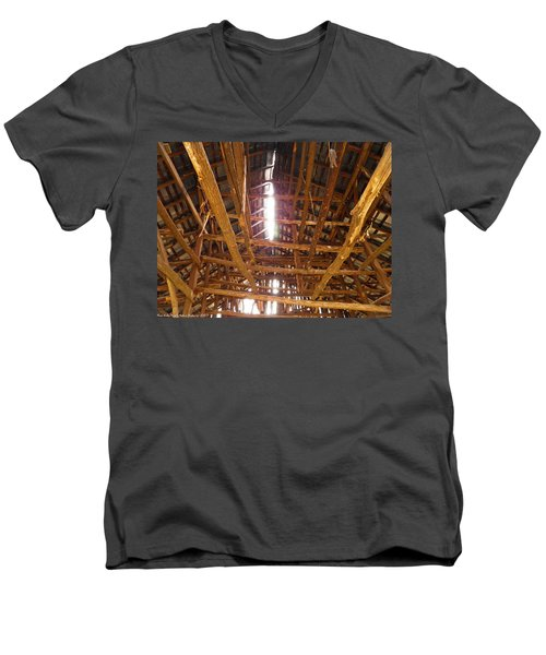Men's V-Neck T-Shirt featuring the photograph Barn With A Skylight by Nick Kirby